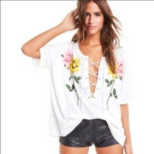 Wildfox Long Stems Maxwell Tie Shirt